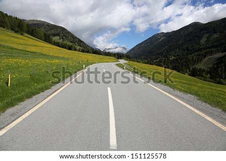 mountain pass road, S�¶lkpass, Austria  - stock photo