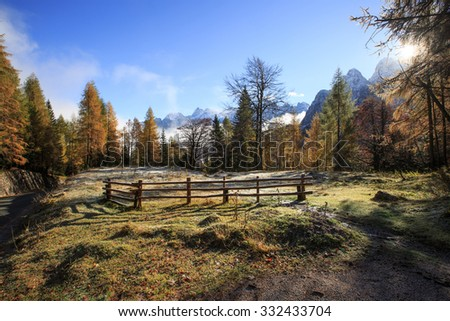 Mountain pasture with morning frost on grass and beautiful autumn colored trees in the mountains wilderness area, blue skies. Seasons changing, unique sunlight concept.