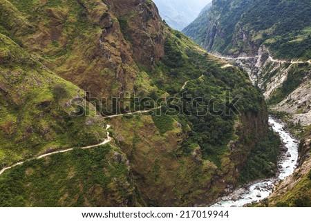 Mountain path in Himalaya mountains, Nepal. - stock photo