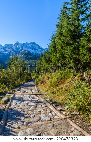 Mountain path to Gasienicowa valley in autumn season, High Tatras, Poland