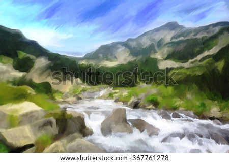 Mountain peak and cold river oil painting  in watercolor style - stock photo