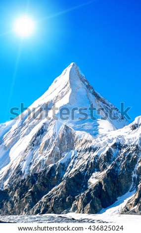 Mountain peak Everest. Highest mountain in the world. National Park, Nepal. - stock photo