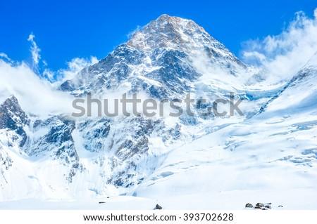Mountain peak Everest. Nepal, Himalaya - stock photo