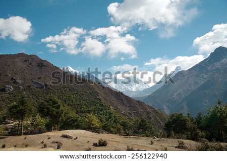 Mountain Peak, Himalayas With Everest View - stock photo