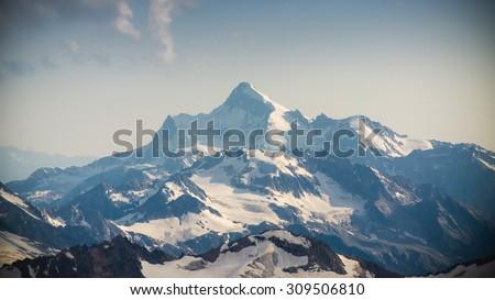 mountain peak located near Elbrus - stock photo