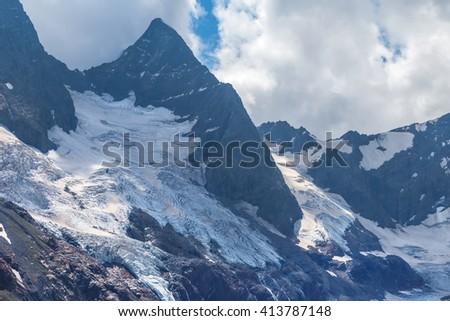 mountain peak scene, caucasus, russia - stock photo