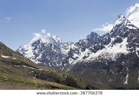 Mountain peaks and glaciers of Dombai.The North Caucasus.Russia.
