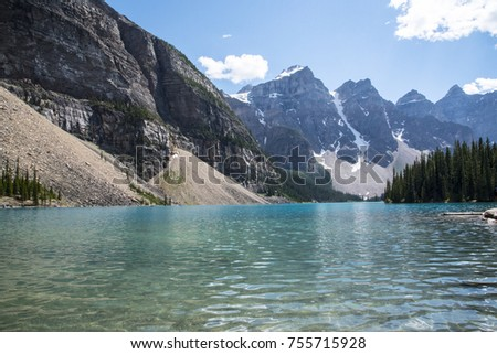 Mountain Peaks and Teal Lake in National Park in Canada