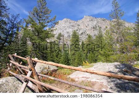 Mountain peaks in Glacier national park - stock photo