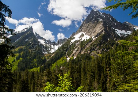 Mountain Peaks in the Cascade Range in Washington State - stock photo