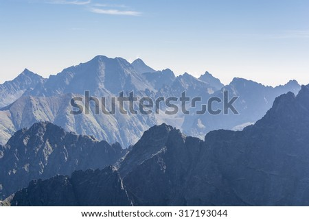 Mountain peaks in the Tatra Mountains in the morning