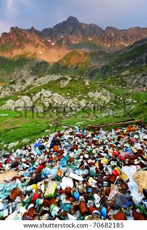 Mountain pollution - stock photo