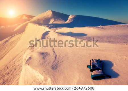 Mountain range glowing by warm sunlight at twilight. View from ski resort Dragobrat. Dramatic morning scene. Carpathian, Ukraine, Europe. Beauty world. - stock photo