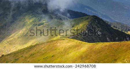 Mountain range in Carpathian Mountains - stock photo
