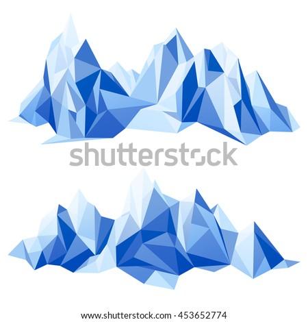 Mountain range in origami style - stock photo
