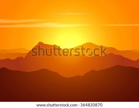 Mountain range over sunset. Raster illustration. - stock photo