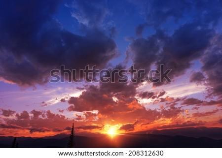 Mountain Range Sunset. Colorful Sunset in Colorado, USA.  - stock photo