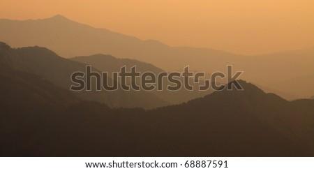 Mountain Range with Sunset, the Highest Mountain of Thailand - stock photo