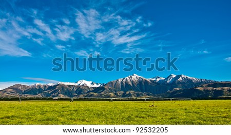 Mountain Ranges in New Zealand - stock photo