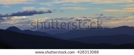 Mountain ranges just after sunset. View from Mt Robert, New Zealand.