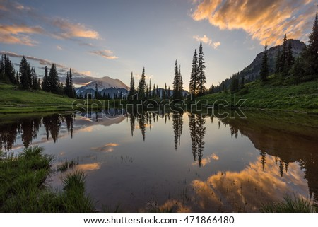 mountain reflection at sunset