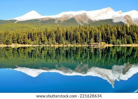 Mountain Reflection on Maligne Lake