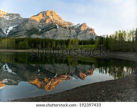 Mountain reflection on Wedge Pond at dawn