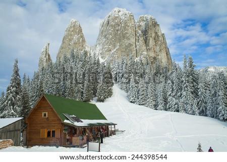 mountain resort in winter - stock photo