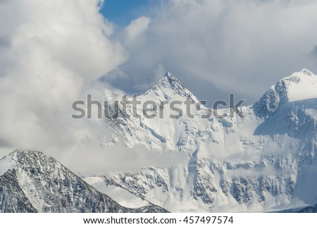 mountain ridge in a snow
