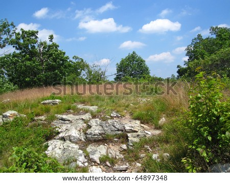 Mountain Ridge on the Appalachian Trail - stock photo