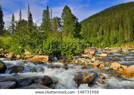 Mountain River. A river in Kuznetsk Alatau mountains, Western Siberia, Russia. - stock photo
