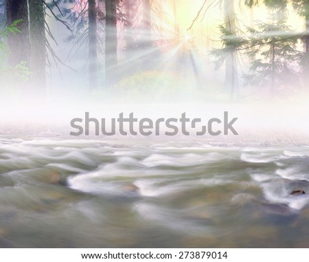 Mountain River at sunrise in a beautiful misty forest after a storm, with silky waves among the wet stones photographed long exposure on the background of the old forests of wild trees - stock photo
