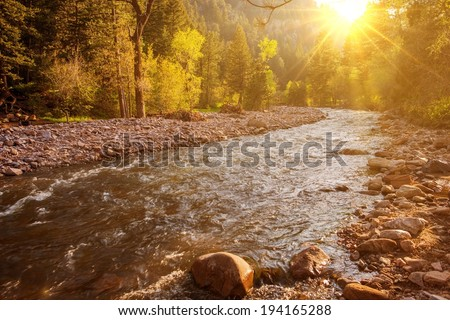 Mountain River at Sunset. South Boulder Creek River in Eldorado Canyon State Park, Boulder, Colorado, United States. - stock photo