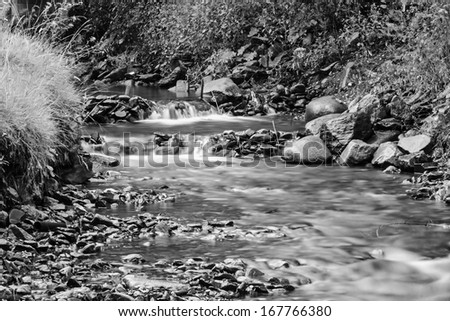 Mountain river flowing over the stones