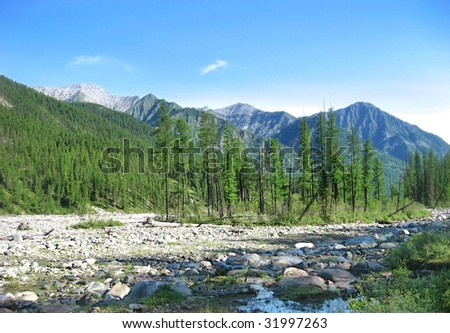Mountain, river, forest and blue sky amazing landscape - stock photo
