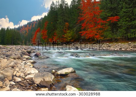 mountain river in autumn time. Rocky shore. Colourfull forest - stock photo