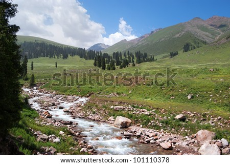 Mountain river in Tian-Shan mountains, Kazakhstan - stock photo