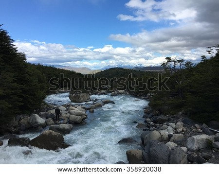 Mountain river in Torres del Paine National Park, Chile - stock photo