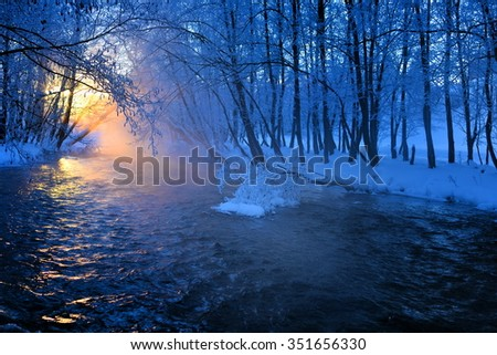 mountain river in winter morming - stock photo