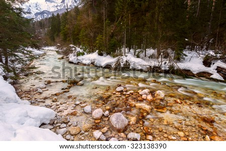 Mountain river in winter time in Julia Alps- Slovenia