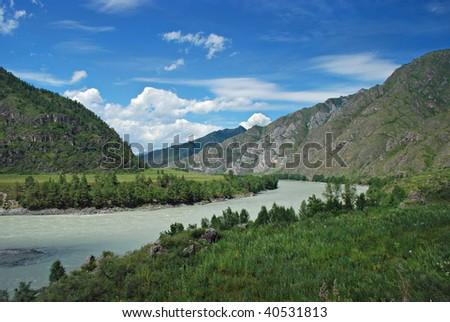 Mountain river Katun, Altai Republic, Russia - stock photo