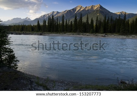 Mountain River. Kootenay River in Kootenay National park, Mount Harkin in Background