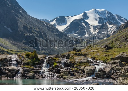 mountain river waterfall - stock photo