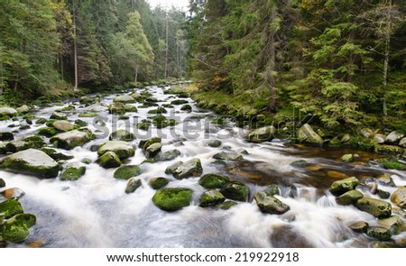 Mountain river waterfall between stones and autumn vegetation. - stock photo