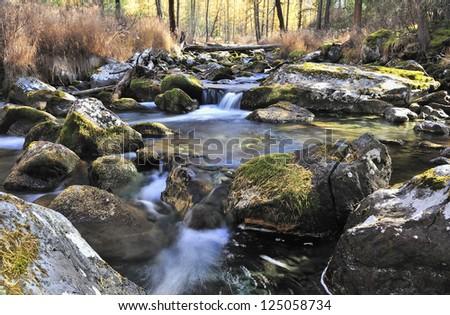 Mountain river, West Siberia, Altai mountains, Katun ridge. - stock photo