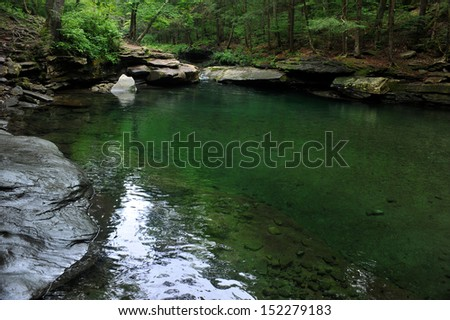 Mountain river with blue green water at  Catskils mountains upstate NY at the summer time. Blue Hall lagune.