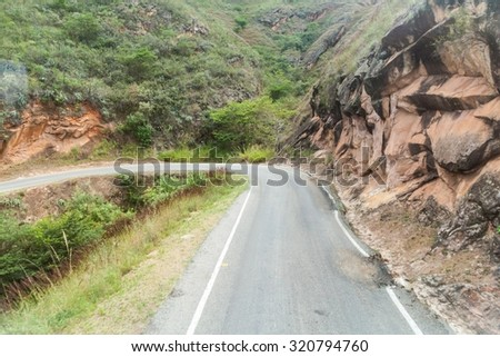 Mountain road between Balsas and Leimebamba, Peru - stock photo