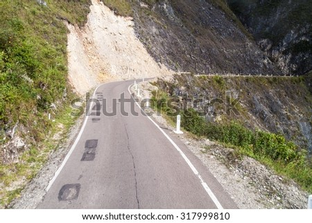 Mountain road between Celendin and Balsas, Peru. - stock photo