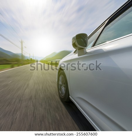 Mountain road in car