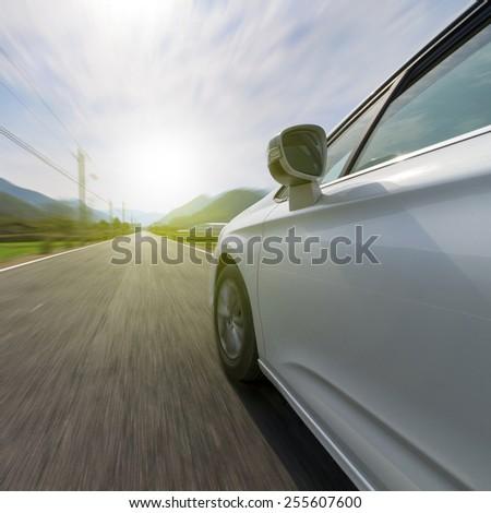 Mountain road in car - stock photo